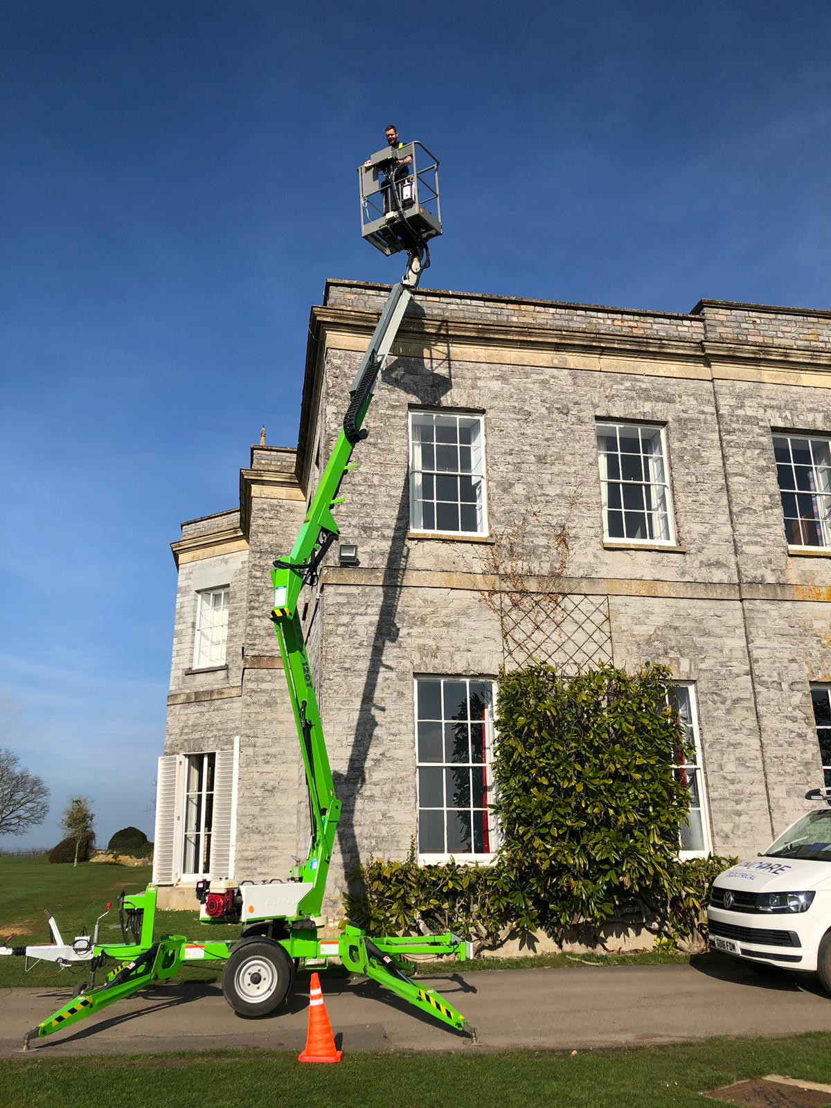 Our new tow-along cherry picker is available for high-level electrical and lighting projects throughout Somerset and the South West.